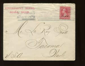 Guam Scott 2 Overprint Used Stamp on Scarce Commercial Cover to Tacoma WA