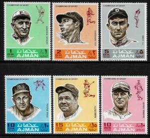 Ajman Michel #388-93 MNH Set - Baseball Players