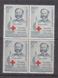 INDIA, 1963 Red Cross Centenary 15np., block of 4, mnh.