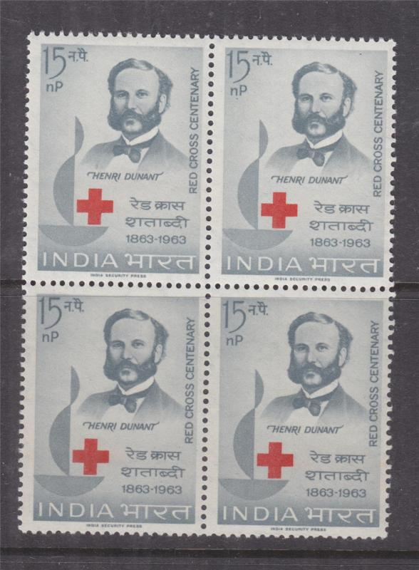 INDIA, 1963 Red Cross Centenary 15np., block of 4, mnh.