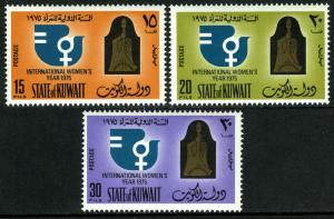 Kuwait 631-633, Mnh. Interno Donna Anno, Kuwait Donna Unione. Emblemi, 1975