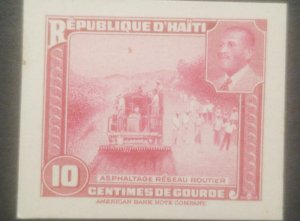 L) 1953 HAITI, ABN DIE PROOFS, AMERICAN BANK NOTE, ROAD CONSTRUCTION, RAILWAY