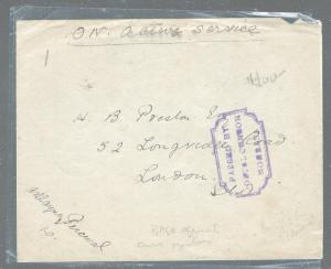 BRITISH EAST AFRICA (PP2604B)  1915 OAS FREE POST COVER MOMBASA CENSOR BOMBAY TO