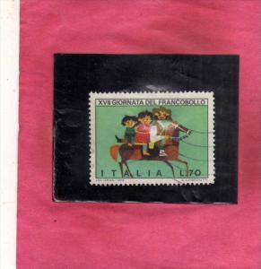 ITALIA REPUBBLICA ITALY REPUBLIC 1975 GIORNATA DEL FRANCOBOLLO STAMP DAY LIRE...