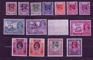 J23699 JLstamps 1947 burma set most mllh/mh #70-84 ovpt,s #79 crease