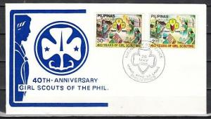 Philippines, Scott cat. 1465-1466. Girl Scout Movement issue. First day cover.