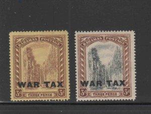 BAHAMAS #MR9-MR10  1918  KING GEORGE V  WAR TAX MINT VF LH  O.G