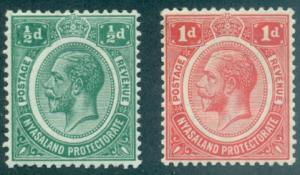 Nyasaland Protectorate #12-13  Mint  Scott $10.00