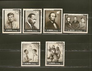 Ajman (6) Human Rights ML King JF Kennedy A Lincoln Stamps CTO