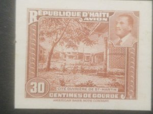 L) 1953 HAITI, ABN, DIE PROOFS, AMERICAN BANK NOTE, St. MARTIN WORKER CITY, PRES