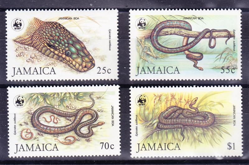 Jamaca WWF Snakes complete (4)  VF/NH(**)