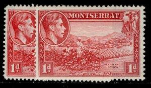 MONTSERRAT GVI SG102 + 102a, 1d PERF VARIEITES, M MINT.