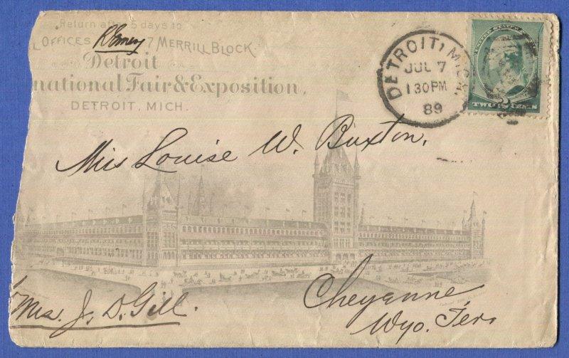 1889 Sc 213 on Scarce Detroit International Fair & Exposition Advertising cover