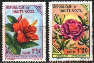 Upper Volta. 1963. 120-22 from the series. Flowers, flora. MLH.