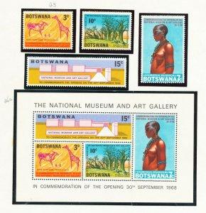 BOTSWANA - # 43-46 & 46a - VFMNH set & S/S - National Museum, nude topical, 1968