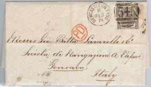 GB  - VICTORIA - POSTAL HISTORY: SG 125 on COVER from NEWCASTEL to ITALY 1874