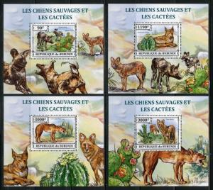 BURUNDI 2012 WLD DOGS & CACTII  SET OF FOUR DELUXE  SOUVENIR SHEETS  MINT NH