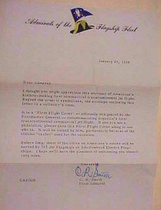 US AUTOGRAPH ADMIRAL 1959 CR SMITH LETTER