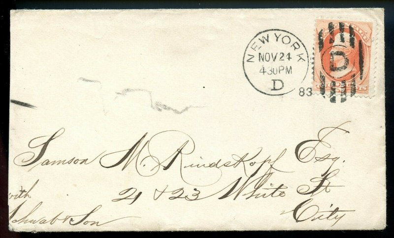 U.S. 183 Bank Note on 1883 New York City Cover w/Enclosure