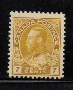 Canada Sc 113 1912 7c yellow GV Admiral stamp mint NH