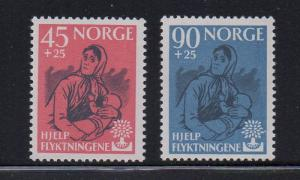 Norway Sc B64-5 1960 World Refuge year stamp set mint NH
