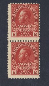 2x Canada WW1 Admiral MNH Stamps Pair of #MR2-2c War Tax F Guide Value = $30.00