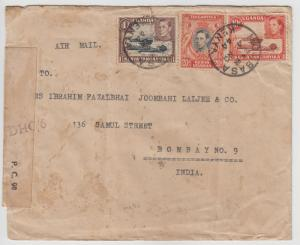 K.U.T.  1944  Mombasa  Cover To India Censored  2 Scans  62324