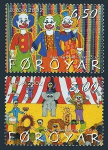 Faroe 414-415,MNH. Circus 2002,Children's drawings.