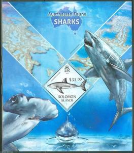 SOLOMON ISLANDS 2013 AUSTRALIAN FAUNA  SHARKS SOUVENIR SHEET