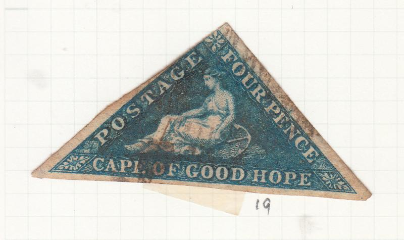 CAPE OF GOOD HOPE TRIANGLE 1863 4D BLUE SG19 USED 1