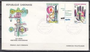 Gabon, Scott cat. 250-251. Oil Refinery issue. First day cover.