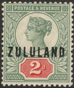 ZULULAND-1888-93 2d Grey-Green & Carmine Sg 3 LIGHTLY MOUNTED MINT V50107