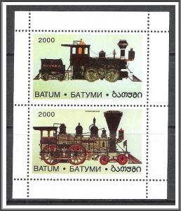 Batum 2000 Trains Souvenir Sheet MNH