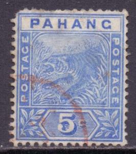 Malaya Pahang Scott 13 - SG13, 1891 Tiger 5c used faults