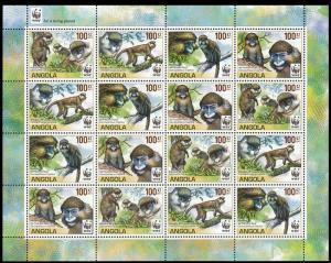 Angola WWF Monkeys Guenons Sheetlet of 4 sets /16v