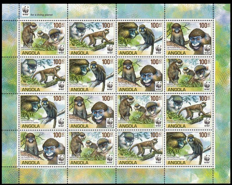 Angola WWF Monkeys Guenons Sheetlet of 4 sets /16v
