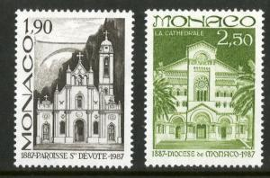 MONACO 1571-1572 MNH SCV $1.90 BIN $0.95 CHURCHES ARCHITECTURE