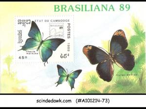 CAMBODIA - 1989 BRAZILIANA 89 BUTTERFLY / BUTTERFLIES - MINIATURE SHEET MNH