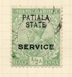 Indian States Patiala 1913 Early Issue Fine Used 1/2a. Optd 075627
