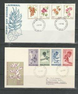 Papua & New Guinea, 2 FDCs, Illus, 1964 Health, 1967 Flowers, Cancelled LAE & MO