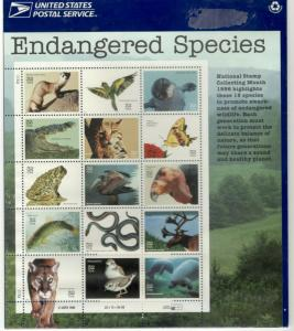 Endangered Species Full Pane Stamp Sheet