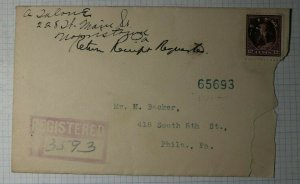 US Sc# 417 12c Franklin Used On Registered Cover Single Frank 1915 Morristown PA