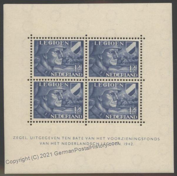 Netherlands WWII Germany  Volunteer Legion Block 2 Stamp Sheet MNH 104688