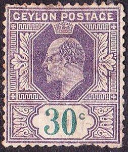 CEYLON 1905KEDVI 30cViolet & Green SG285Used