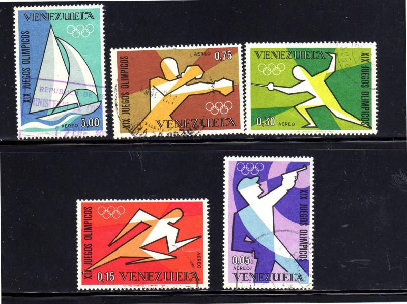VENEZUELA #C993-C997  1968  OLYMPIC GAMES    F-VF USED