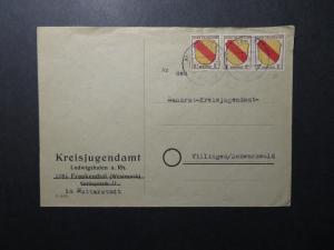 Germany 1946 French Zone Cover w/ 8f Strip of 3 - Z12219