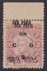 INDIAN STATES COCHIN 1949 ON CGS on Maharaja 6p/3p ERROR DOUBLE RARE!