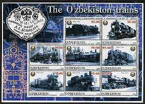 Uzbekistan 2001 Steam Trains #2 perf sheetlet containing ...