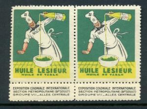 VINTAGE FRENCH 'HUILE LESIEUR' OLIVER OIL FRENCH CHEF POSTER STAMP (L115) FRANCE