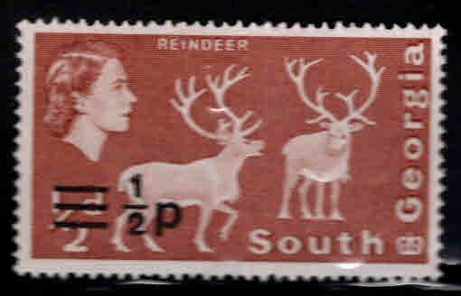 South Georgia Scott 17 MH* surcharged stamp